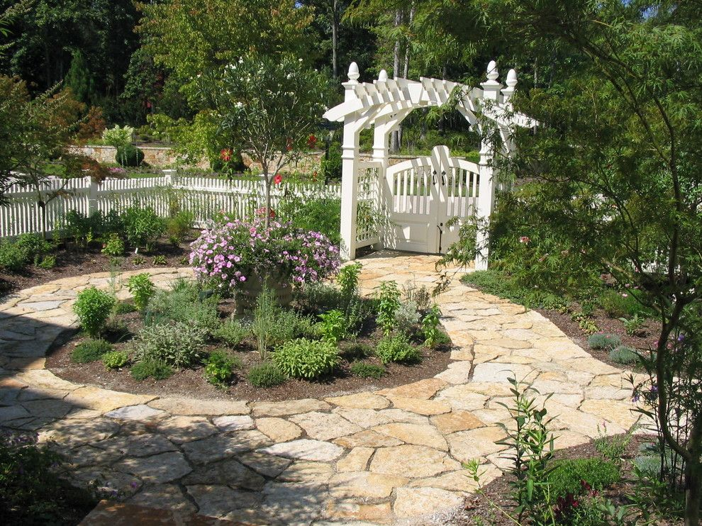 Flatstock for a Traditional Landscape with a Stone Pavers and Trellises by H&g Landscape Architects