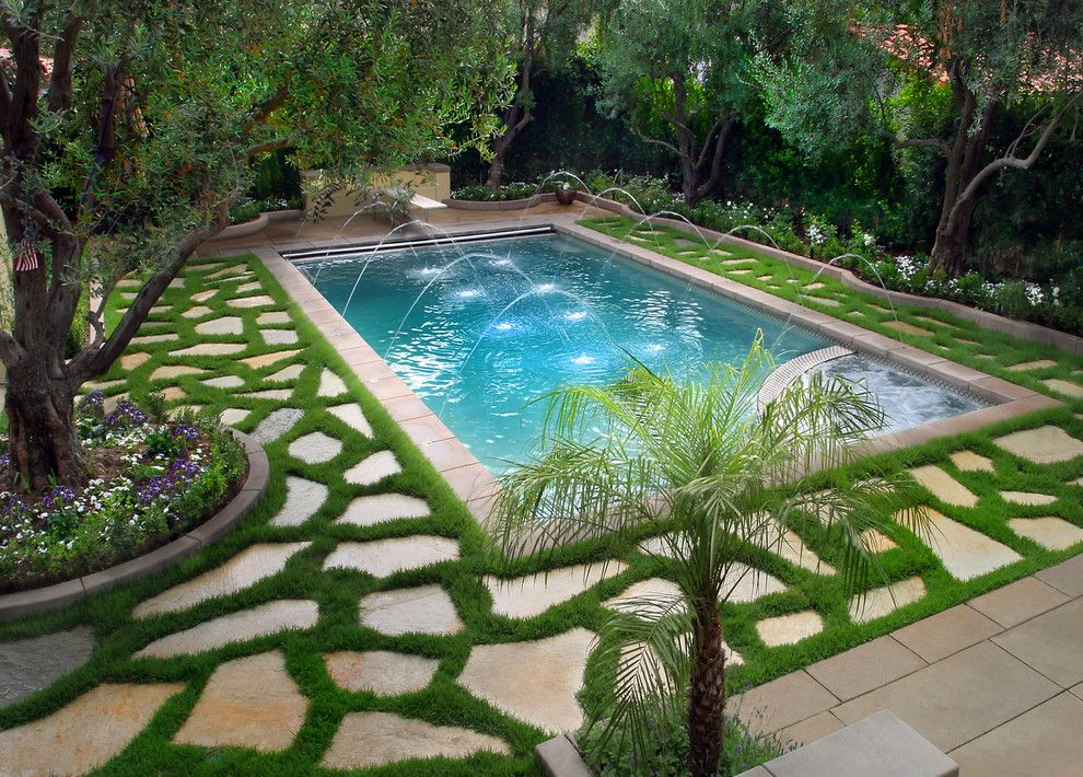 Flatstock for a Traditional Pool with a Stone Trim and Longmire Photo by Longmire Photography