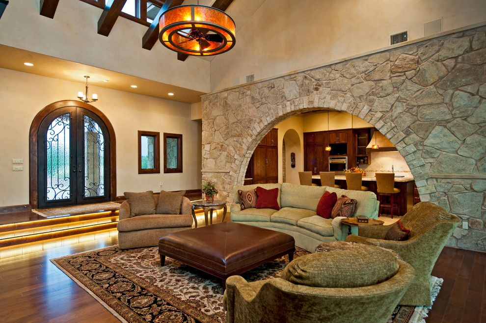 Fox Hills Golf Course for a Mediterranean Family Room with a Tuscan Style and Tuscan Custom Home on Golf Course by Jenkins Custom Homes