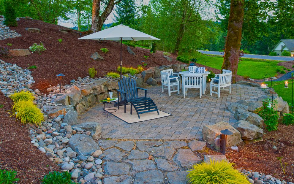 Fox Hills Golf Course for a Traditional Patio with a Water Feature and Traditional Patio by paradiserestored.com