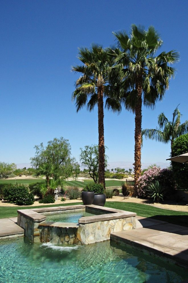 Fox Hills Golf Course for a Transitional Pool with a Palm Trees and Transitional - Golf Course Palm Trees by Pool and Jacuzzi with Waterfall Feature by Cedar Hill Cabinets