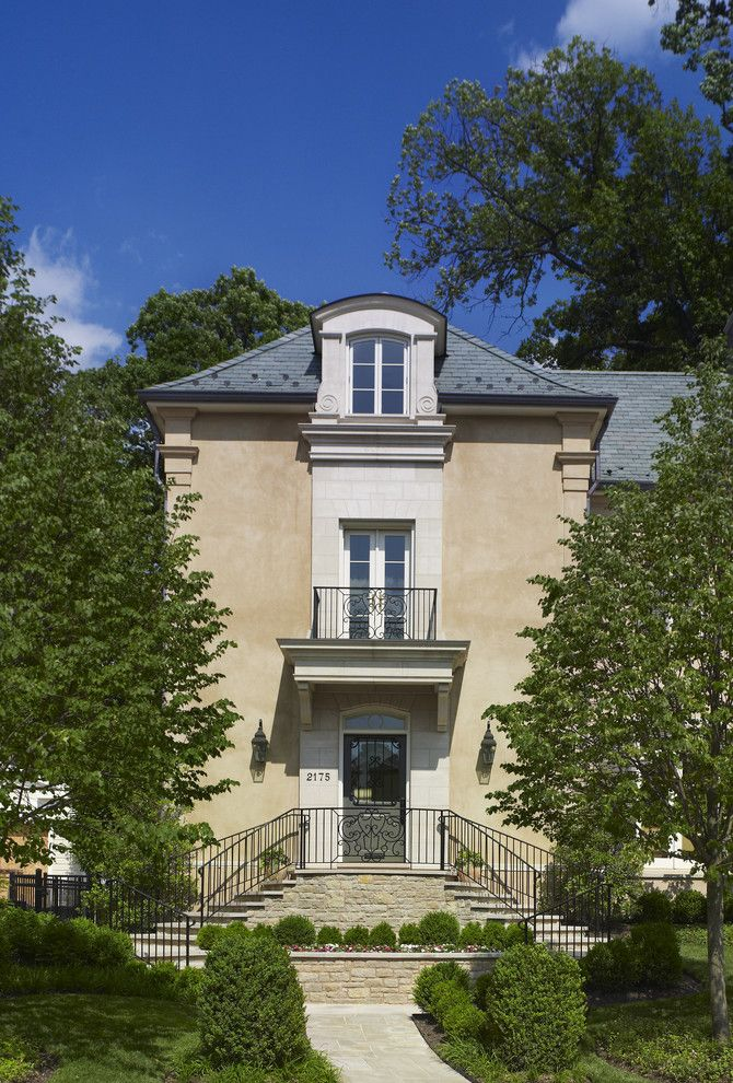 French Chateau for a Mediterranean Exterior with a Formal Entrance and Isle De France Town House by Barnes Vanze Architects, Inc