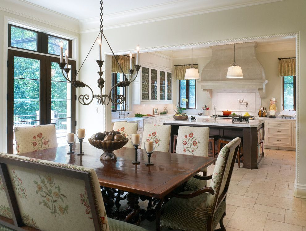 French Chateau for a Mediterranean Kitchen with a Diamond Pane Cupboard and Dordogne French Chateau by Barnes Vanze Architects, Inc