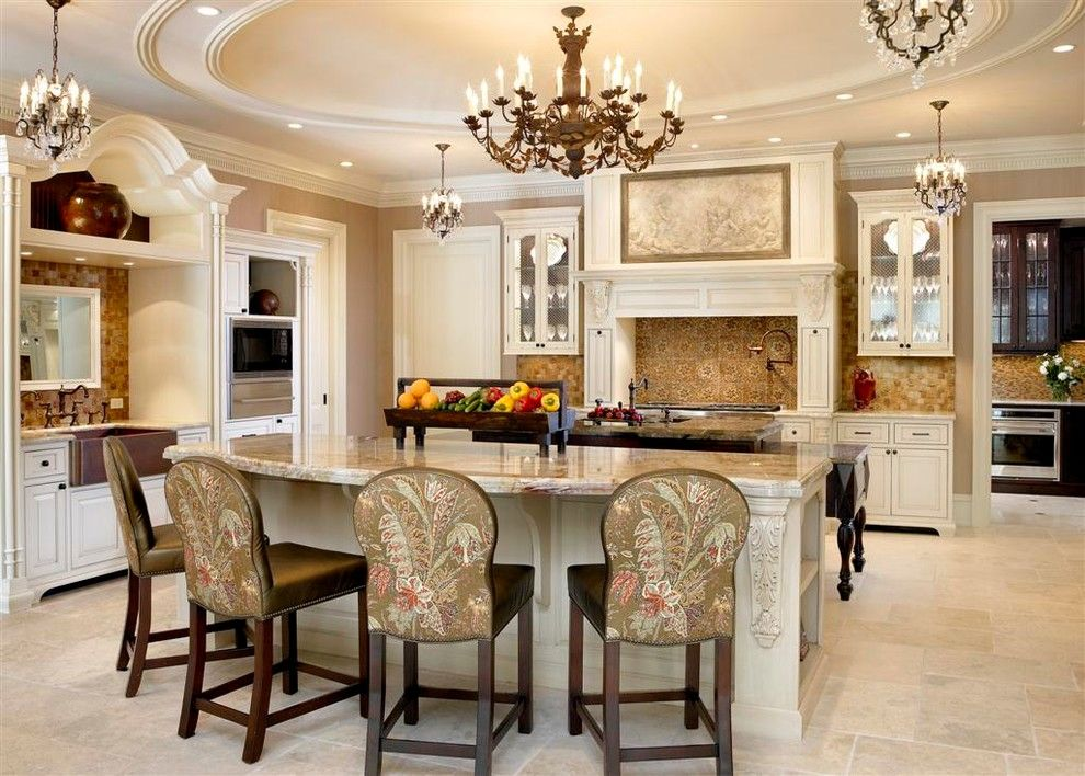 French Chateau for a Traditional Kitchen with a Island and French Chateau by Michael Hershenson Architects