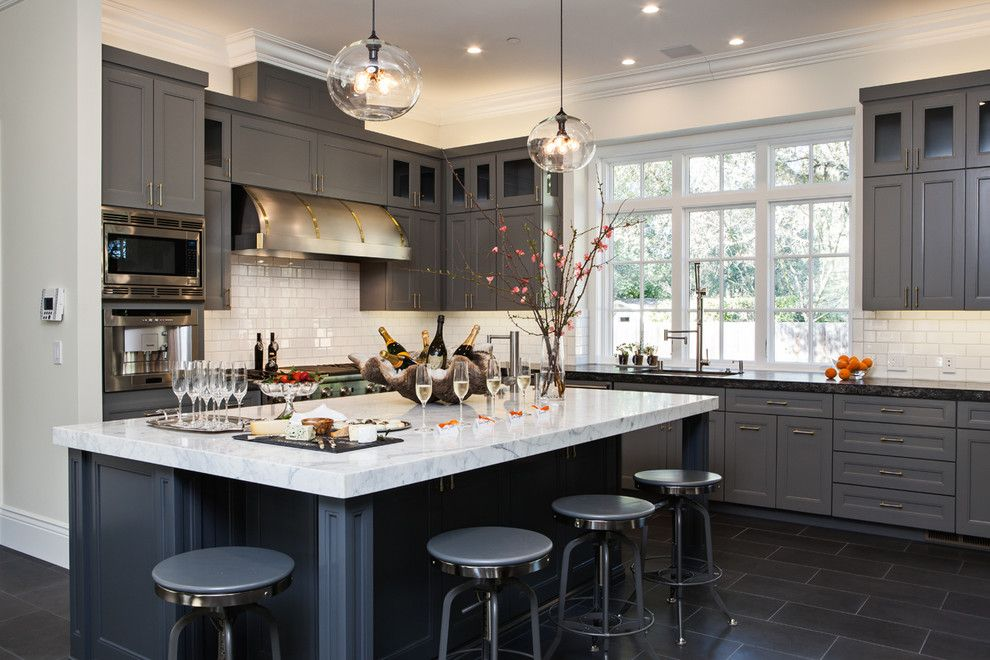 French chateau for a transitional kitchen with a for French chateau kitchen designs