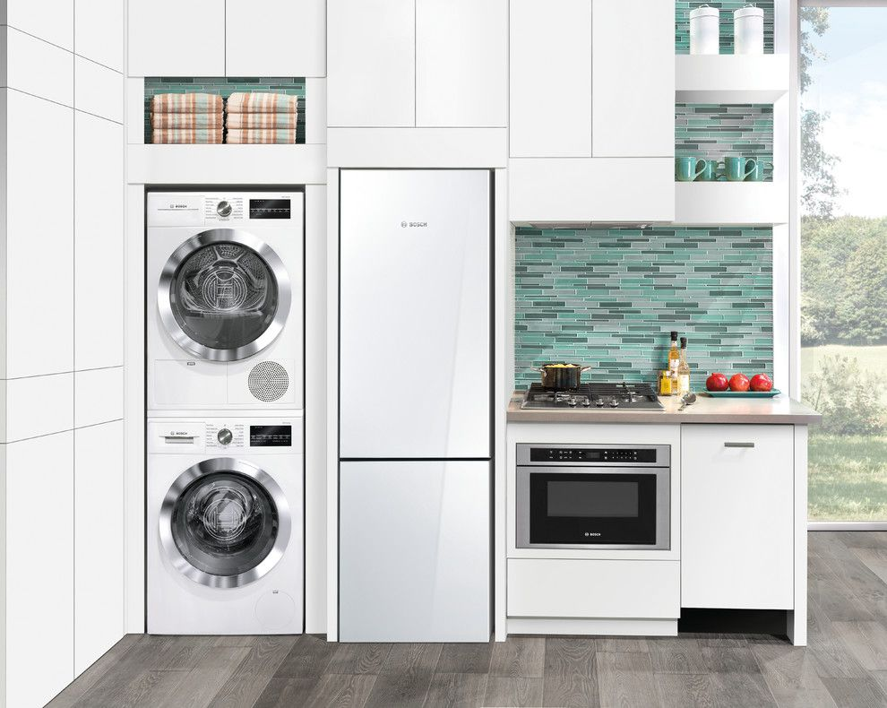 Front Load Washer Smell for a Contemporary Kitchen with a Blue Backsplash and Contemporary Kitchen by Bosch home.com