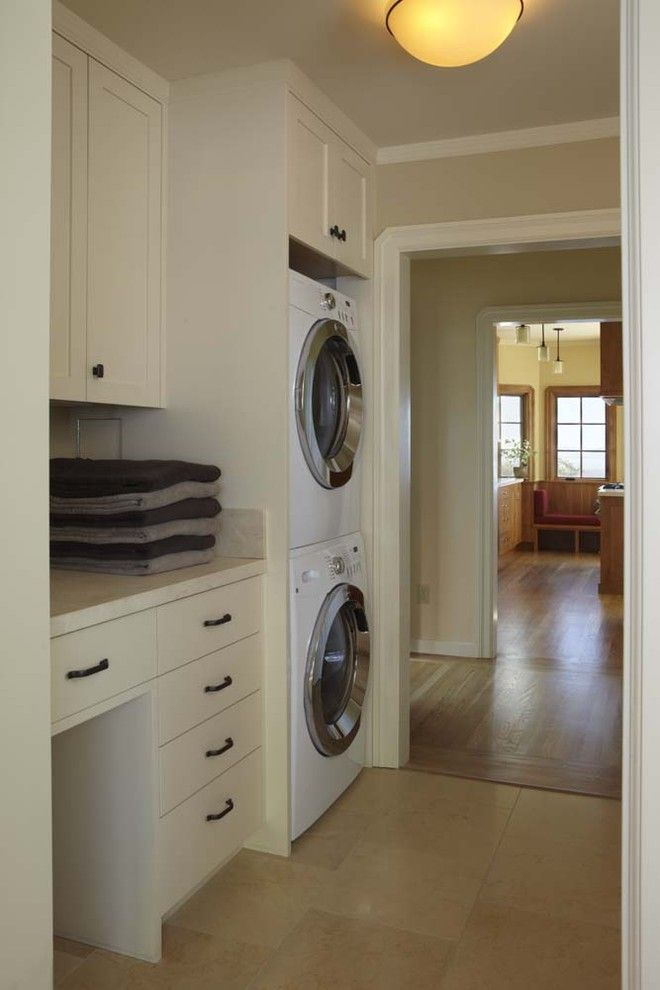 Front Load Washer Smell for a Traditional Laundry Room with a Stacked Washer Dryer and 1920's Traditional   Whole House Renovation by Koch Architects, Inc.  Joanne Koch