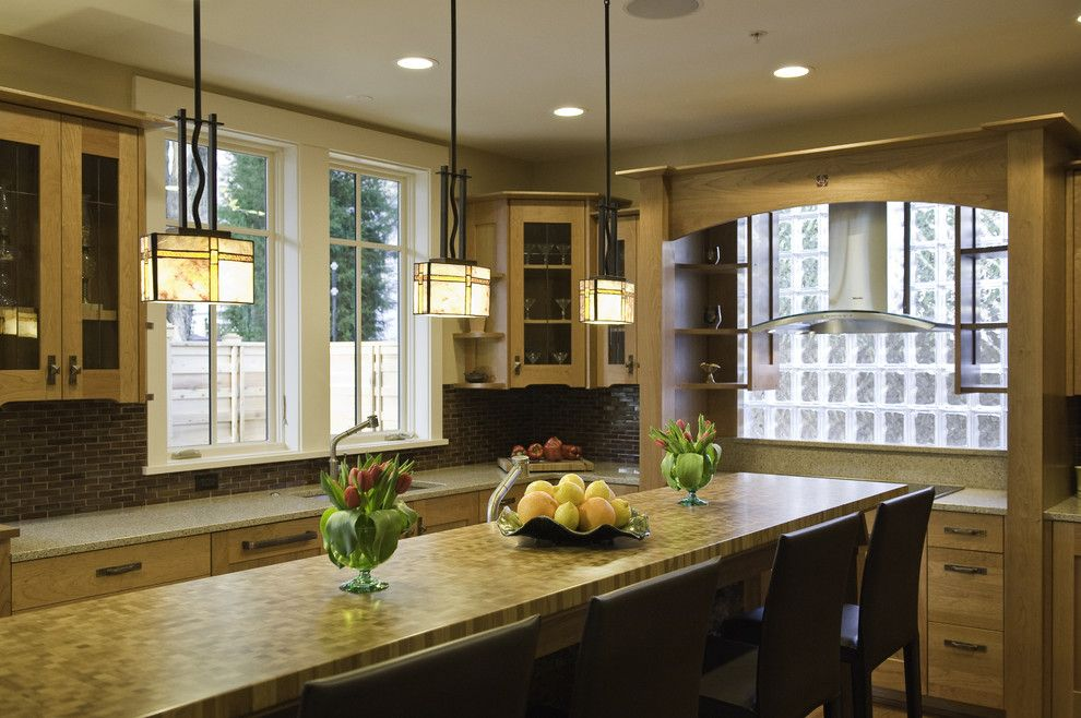 Front Range Lumber for a Craftsman Kitchen with a Glass Block and Incredibly Green Home of Chevy Chase by Christian Gladu Design