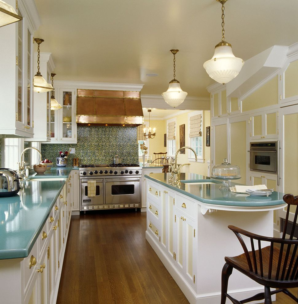 Front Range Lumber for a Traditional Kitchen with a Large Range and Colorful Kitchen by Felhandler/ Steeneken Architects