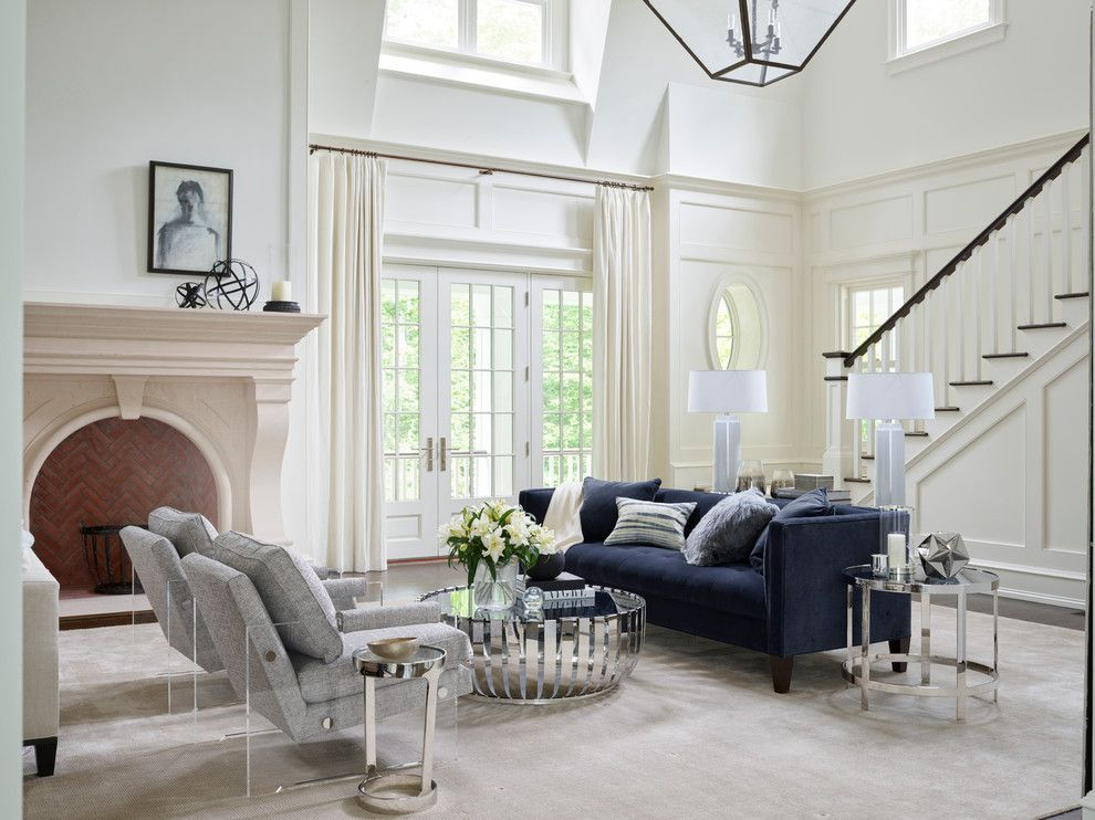 Frontroom Furnishings for a Transitional Living Room with a High Ceilings and Mitchell Gold + Bob Williams Living Room by Bloomingdale's