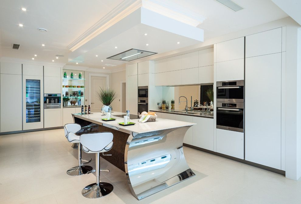 Fruit Flies in Kitchen for a Contemporary Kitchen with a Sleek Design and Oxshott, Surrey by Grech & Grech