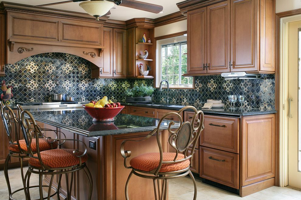 Fruit Flies in Kitchen for a Traditional Kitchen with a Filagree and Traditional Kitchen by Sheila Rich Interiors, Llc