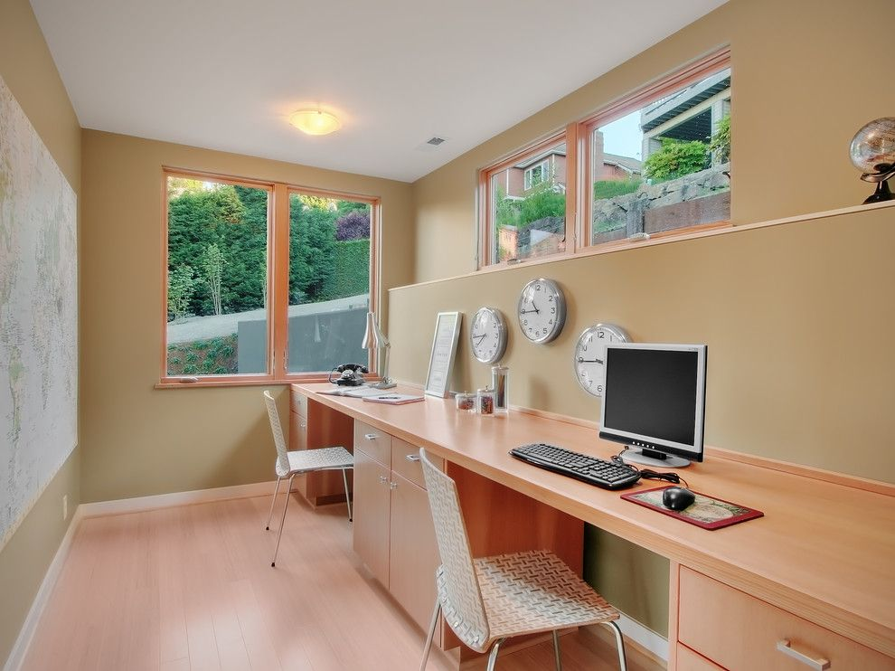 Gaf Contractor Zone for a Contemporary Home Office with a Wall Art and Inverness by Neiman Taber Architects