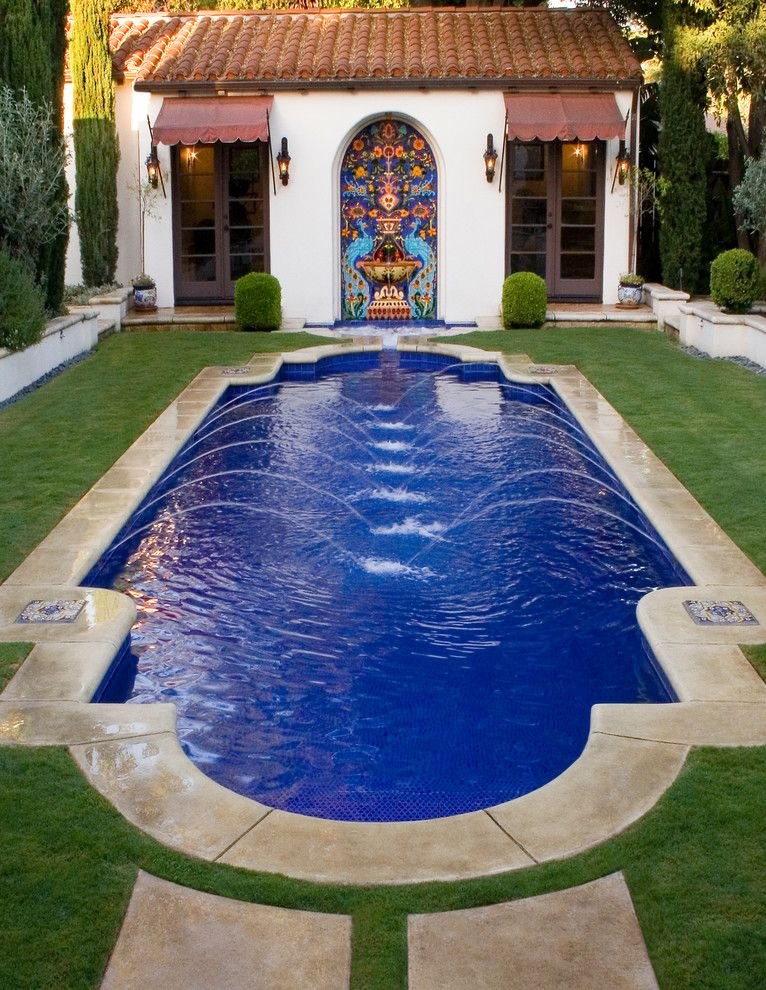 Gamble House Pasadena for a Mediterranean Pool with a Mission Stucco and Casa De Ramón Pool Designed by Gary M. Sewell Jr. Los Angeles, Ca. by Estate Pools & Landscapes Design/build