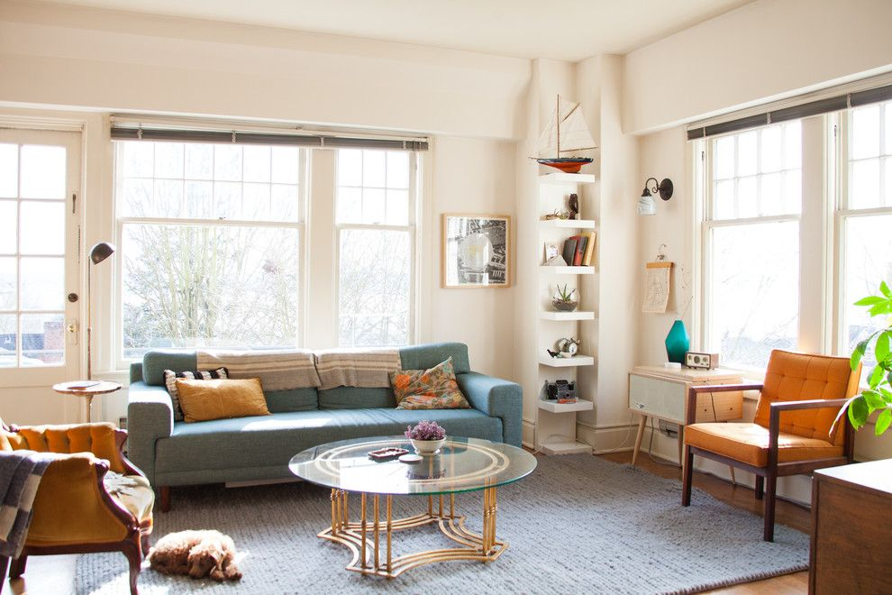 Garage Sales Okc for a Eclectic Living Room with a Mid Century Modern and My Houzz: Bright and Airy Apartment Beats the Seattle Grey by Ellie Lillstrom Photography