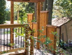 Gardenscapes for a Asian Landscape with a Michigan and Japanese-Style Cedar Gate by Lotus Gardenscapes & Bloom Garden Center