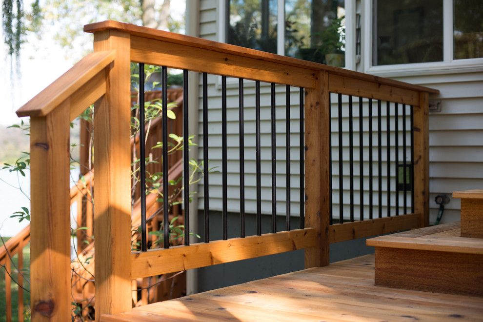 Gardenscapes for a Traditional Porch with a Bloom Gardens and Japanese Style Cedar Gate by Lotus Gardenscapes & Bloom Garden Center