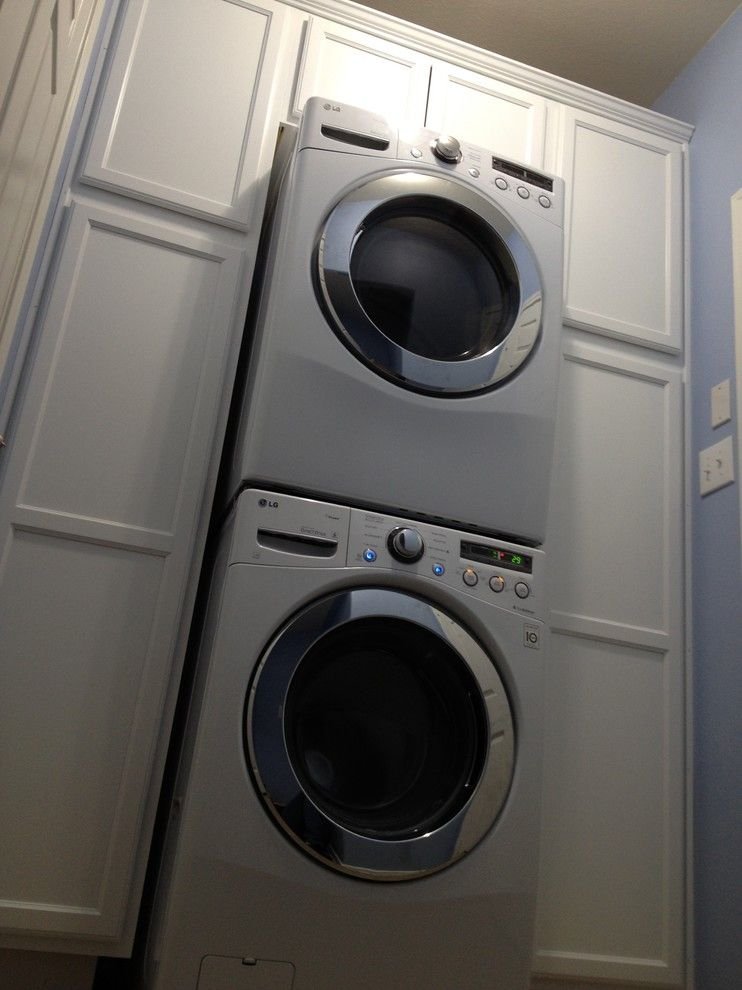 Gas Dryer vs Electric Dryer for a Beach Style Laundry Room with a Washer and Dryer Cabinet and Laundry Room Turn Around by Aggiepokes625