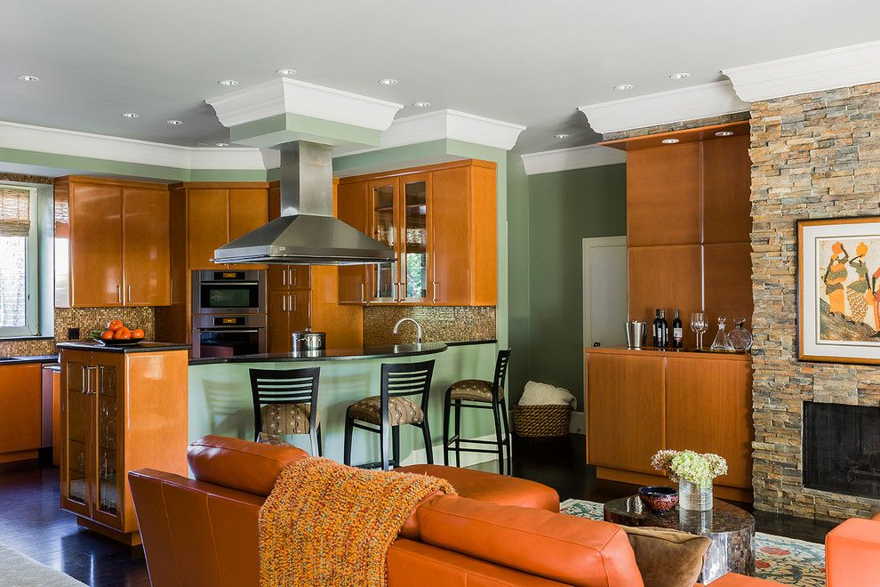 Gas Dryer vs Electric Dryer for a Contemporary Kitchen with a Crown Molding and Modern Kitchen by K.Marshall Design Inc.