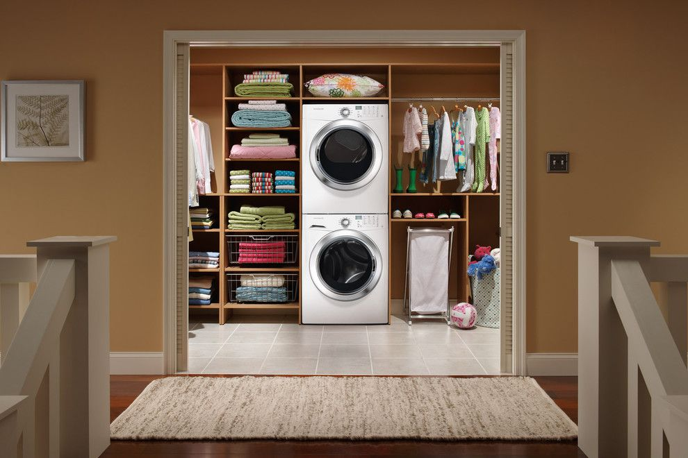 Gas Dryer vs Electric Dryer for a Modern Laundry Room with a Woven Area Rug and Frigidaire Appliances by Aj Madison