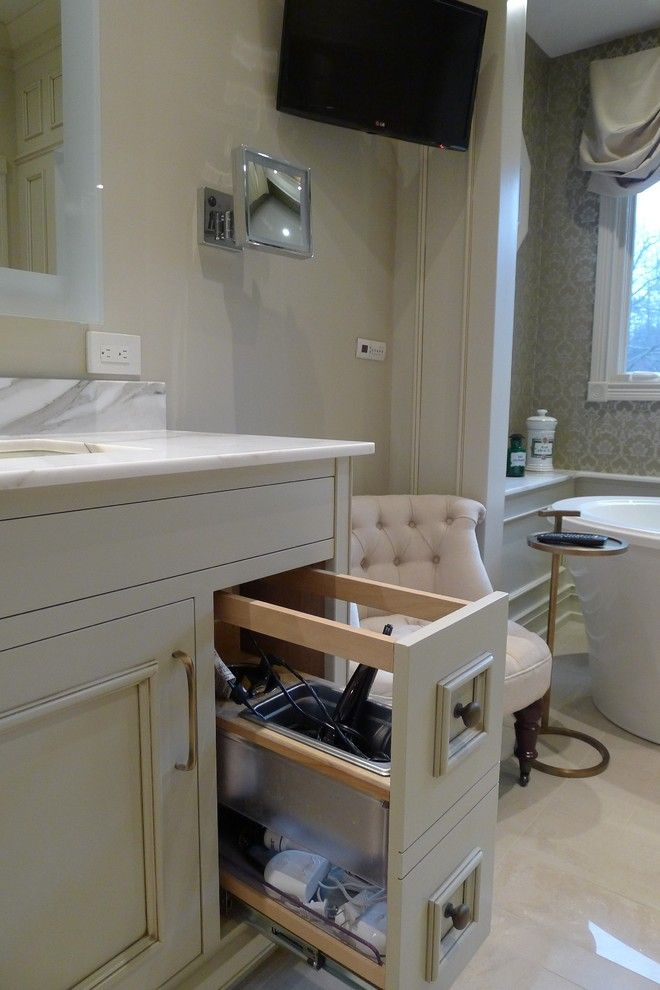 Gas Dryer vs Electric Dryer for a Transitional Bathroom with a Beige Gold Porcelain Tiles and Stunning Master Bathroom by Susan Brook Interiors