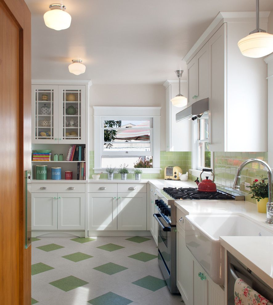 Gas Dryer vs Electric for a Traditional Kitchen with a Mint Green Backsplash and a Refreshing Re Do by Design Studio West