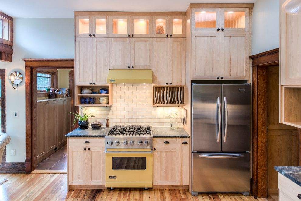 Gas Dryer vs Electric for a Transitional Kitchen with a Wood Trim and Sherwood by Highcraft Builders