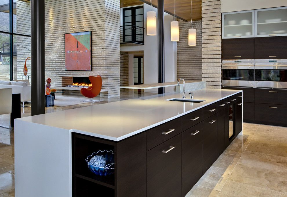 Gas vs Electric Dryer for a Contemporary Kitchen with a Open Floor Plan and Tucson Residence Kitchen by John Senhauser Architects