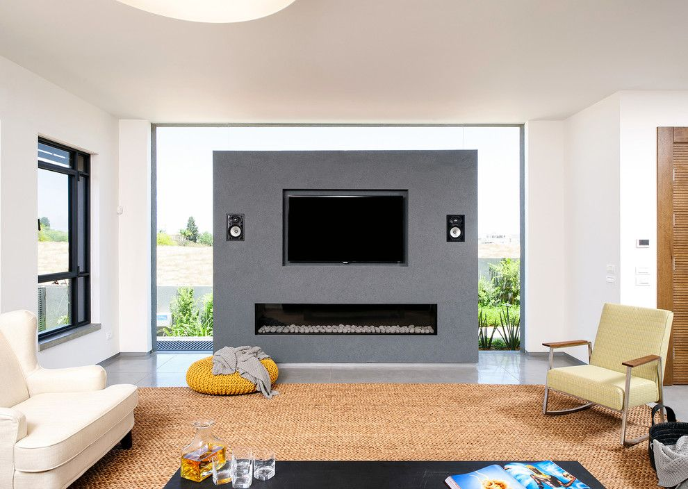 Gas vs Electric Dryer for a Contemporary Living Room with a Speakers and a House at Hod Hasharon by Moshi Gitelis   Photographer