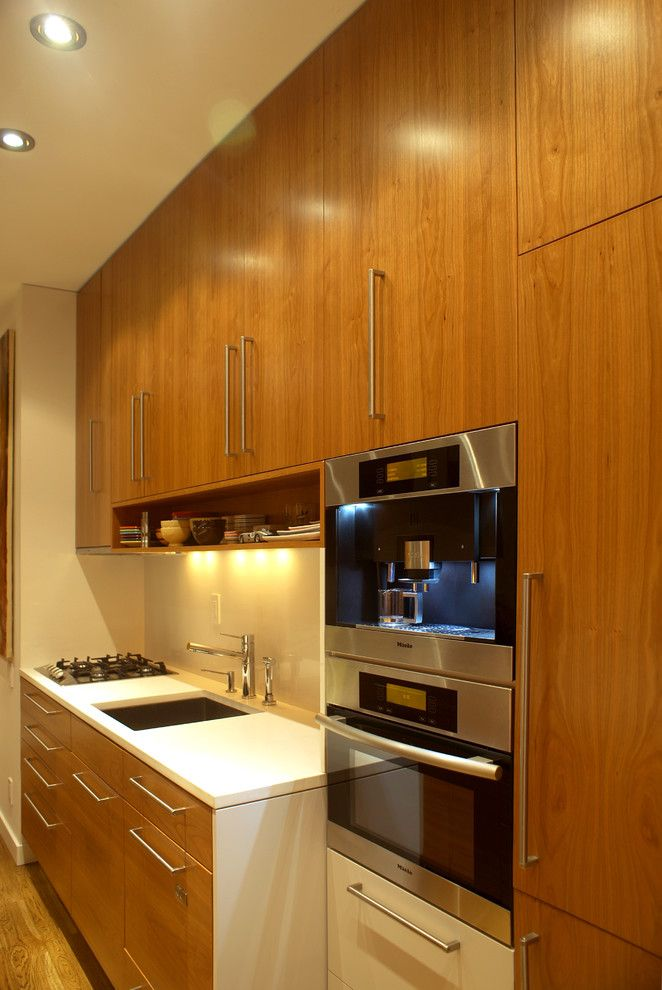 Gas vs Electric Dryer for a Modern Kitchen with a Wood Cabinets and Kitchen Ny by Wl Interiors