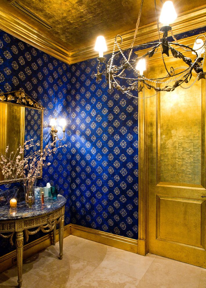 Gild Hall Nyc for a Mediterranean Powder Room with a Chandelier and Powder Room by Roy Campana Photography