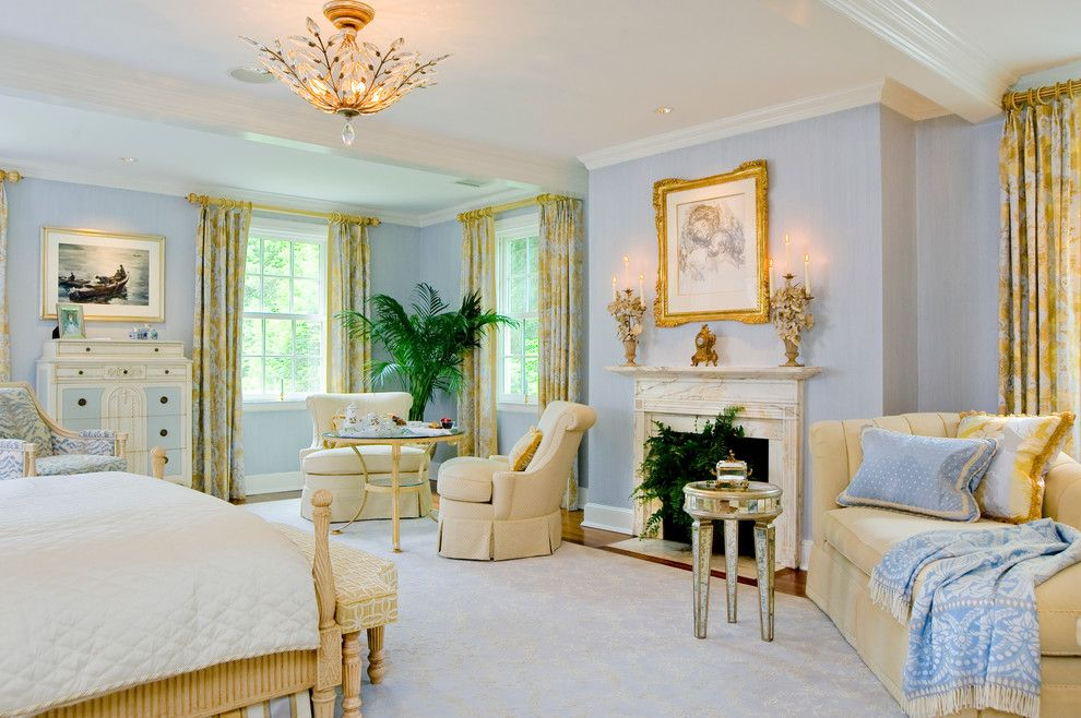 Gild Hall Nyc for a Traditional Bedroom with a Blue and White Floral Armchair and Egan House, Vincent Greene Architects by Direction One, Inc.