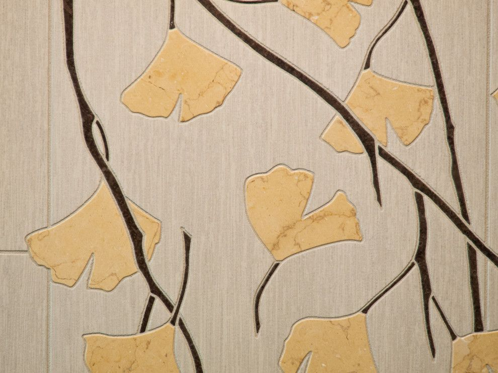 Ginkgo Leaves for a Asian Bathroom with a Porcelain Tile and Chehalem Hills by Smithcraft Fine Construction