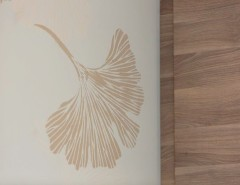 Ginkgo Leaves for a Midcentury Kitchen with a Mid Century Modern and Chinese Ginkgo Stenciled Kitchen by Janna Makaeva/Cutting Edge Stencils