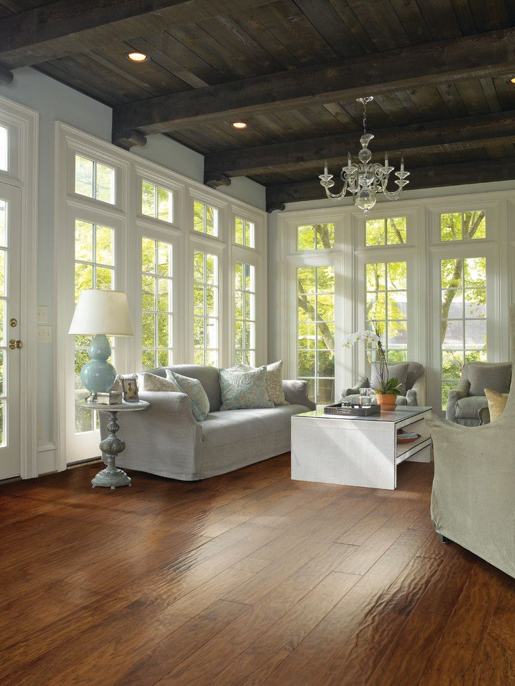 Ginkgo Leaves for a Traditional Living Room with a Beamed Ceiling and Living Room by Carpet One Floor & Home