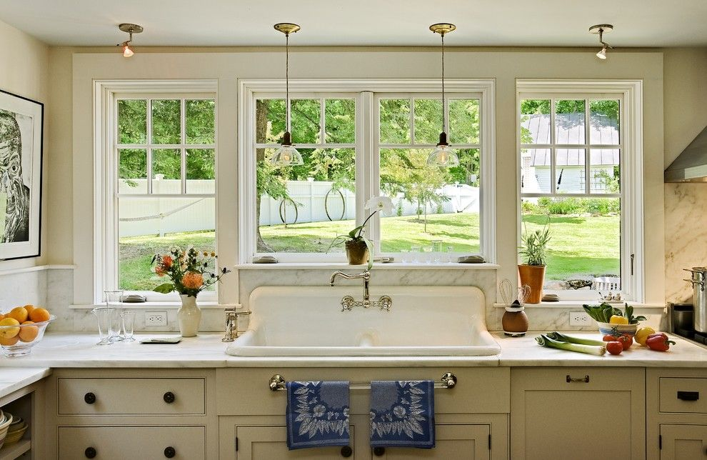 Glass House New Canaan for a Traditional Kitchen with a Glass Pendants and Repurposing a Salvaged Sink by Smith & Vansant Architects Pc