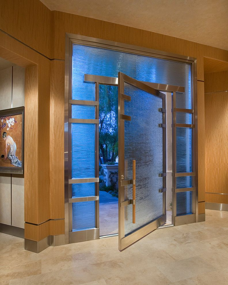 Glassed for a Asian Entry with a Stainless Steel Molding and Luxurious Zen Resort   Paradise Valley by Imi Design, Llc