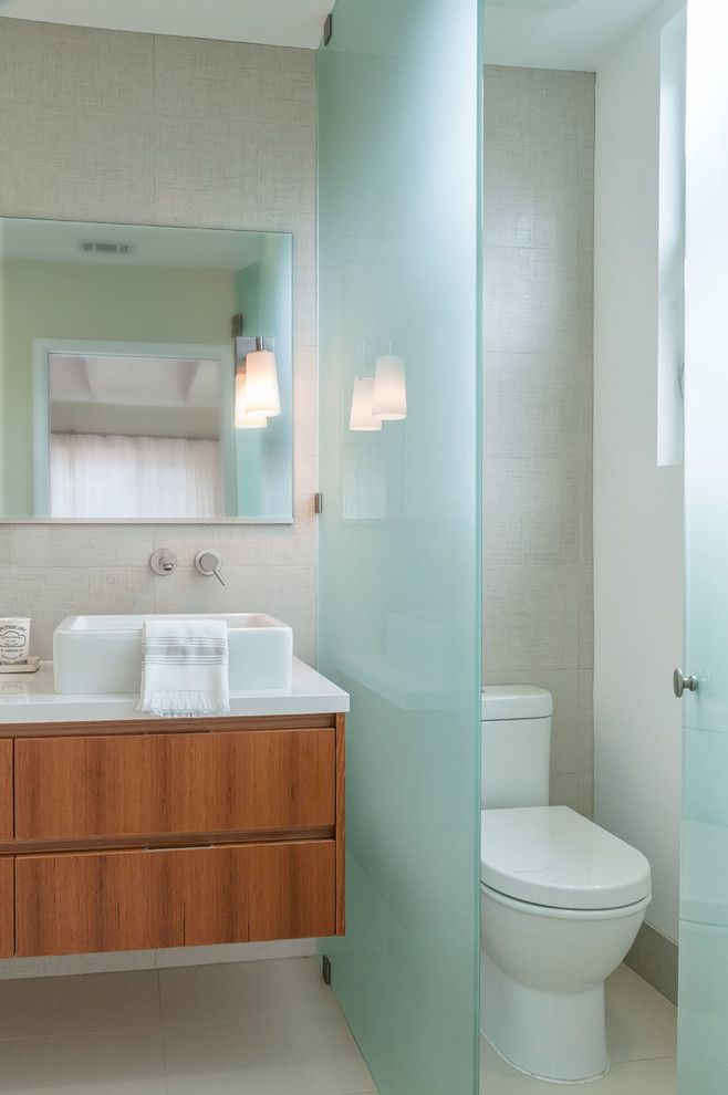 Glassed for a Contemporary Bathroom with a White Kitchen and La Jolla Contemporary Remodel by Inplace Studio