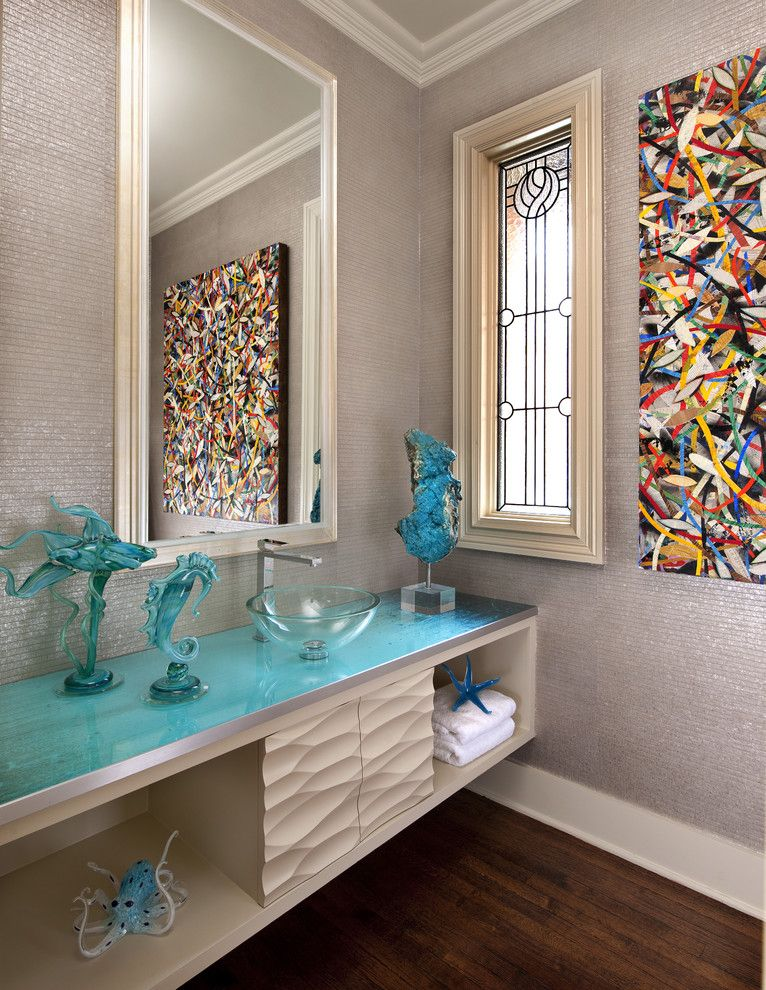 Glassed for a Contemporary Powder Room with a Leaded Glass Window and Strait Lane Estate by Mary Anne Smiley Interiors