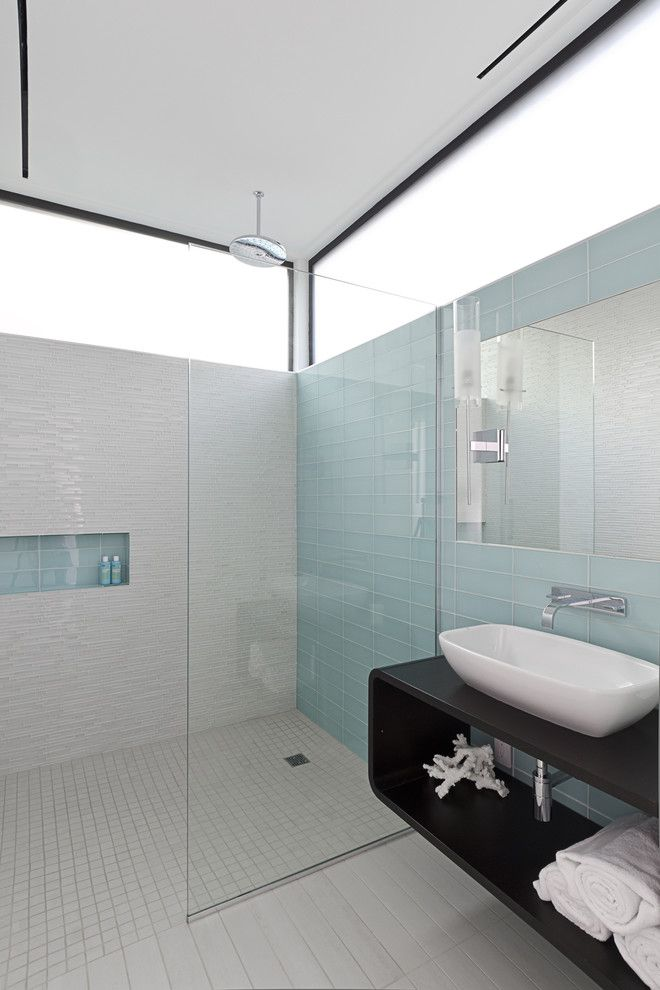 Glassed for a Modern Bathroom with a Wall Mount Faucet and Southampton by Content Architecture