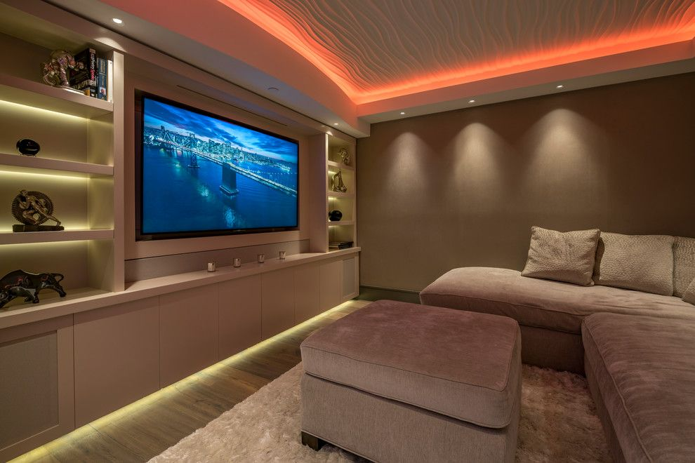 Glen Cove Theater for a Contemporary Home Theater with a Silver Accents and Contemporary Home Theater by Engstromconstruction.com