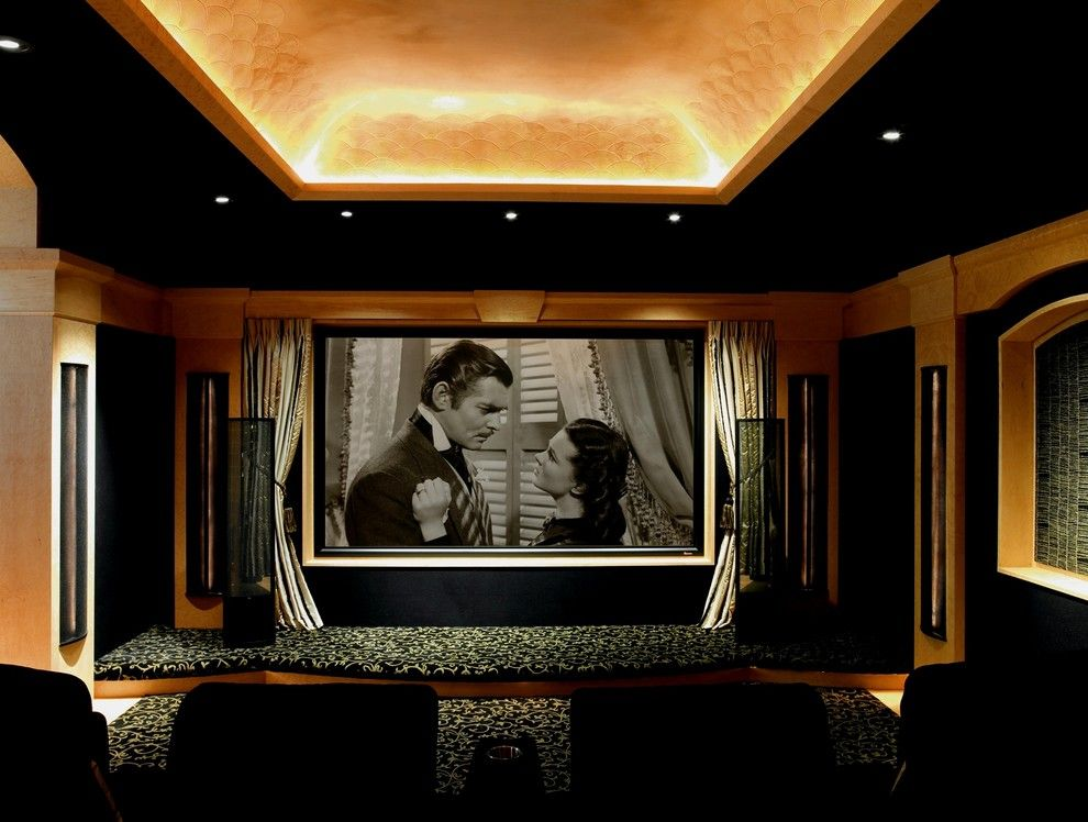 Glen Cove Theater for a Traditional Home Theater with a Barrel Vault Ceiling and Bellaire Guest House by Laura U, Inc.