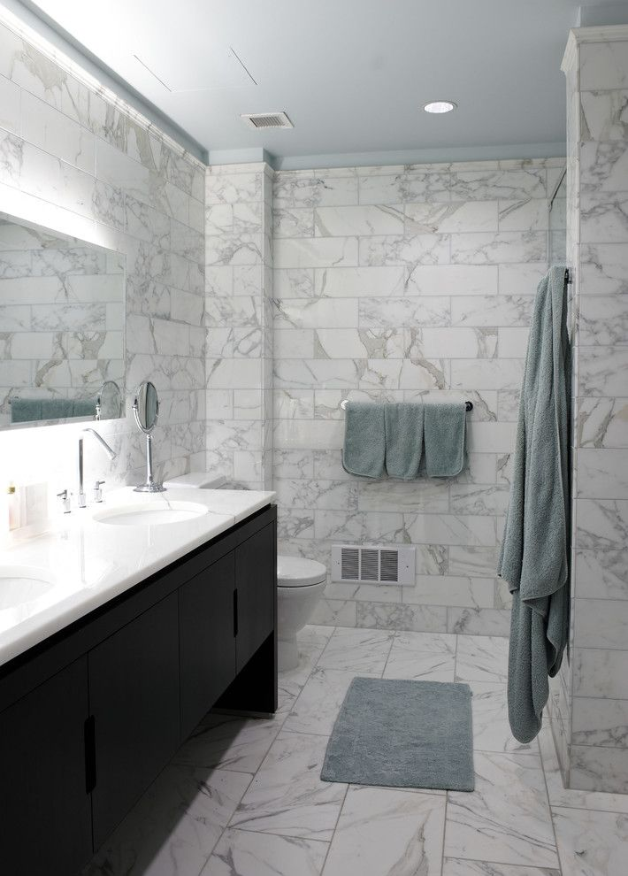 Go.pier1.com for a Contemporary Bathroom with a Marble Floors and 225 Fifth Ave Penthouse by Holzman Interiors, Inc.