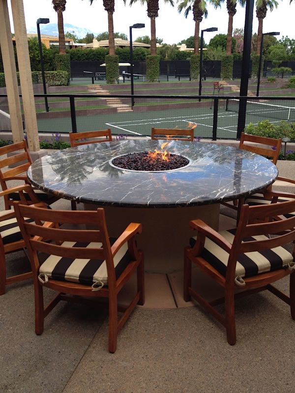 Goleta Ca Weather for a  Patio with a  and Custom Fire Table for Exclusive Country Club in Indian Wells, Ca by Inspired Fire Fx