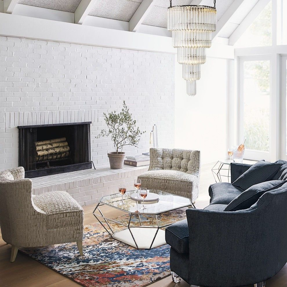 Goodwood Furniture for a Transitional Living Room with a Crystal Chandelier and Frontgate by Frontgate