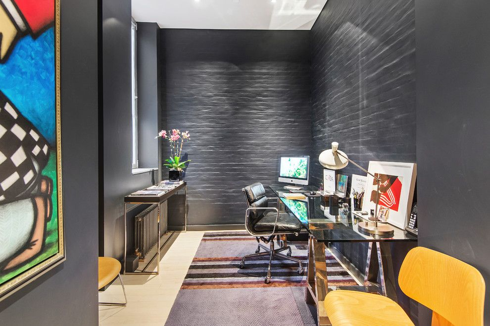 Gotham Lighting for a Contemporary Home Office with a Private Elevator and 545 West 20th Street | $6,995,000 by the Noble Black Team at Douglas Elliman