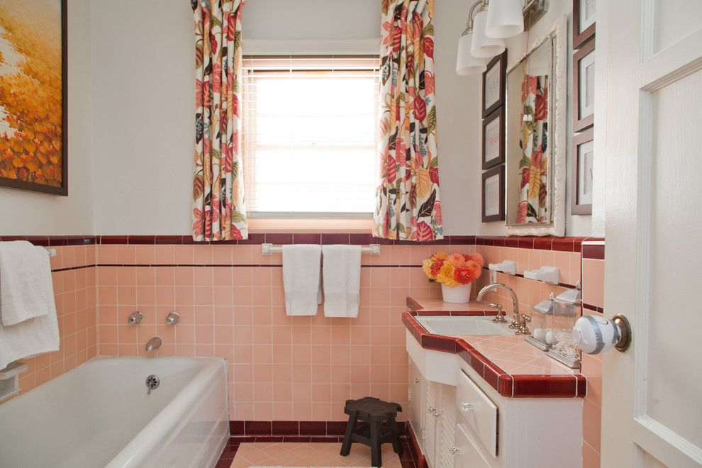 Grandview Heights Schools for a Midcentury Bathroom with a Dahlias and Livable Family Home by A. Peltier Interiors