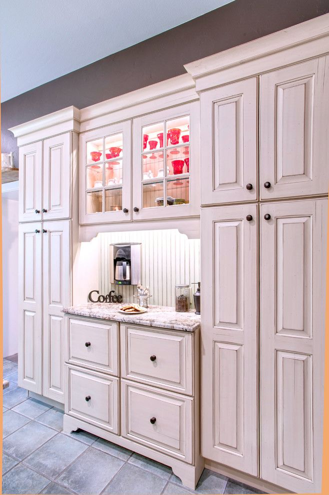 Granite City Wichita Ks for a Shabby Chic Style Kitchen with a Two Tone and Cottage Kitchen   Alder by R.d. Henry & Company