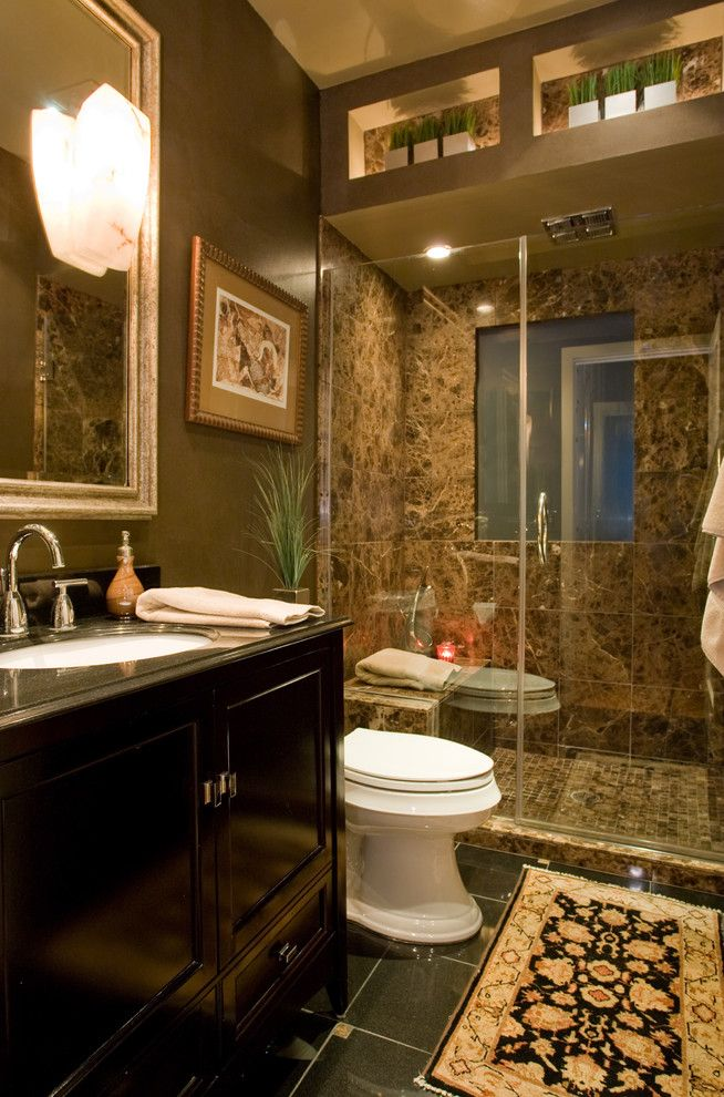 Granite Run Gmc for a Contemporary Bathroom with a Undermount Sink and Brown Marble Bathroom by Chris Jovanelly Interior Design