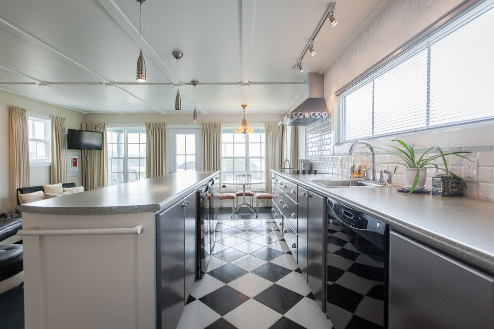 Great Dane Harlequin for a Beach Style Kitchen with a Small Pendant Lights and Small Space Living in Outport Community, Port Rexton by Becki Peckham